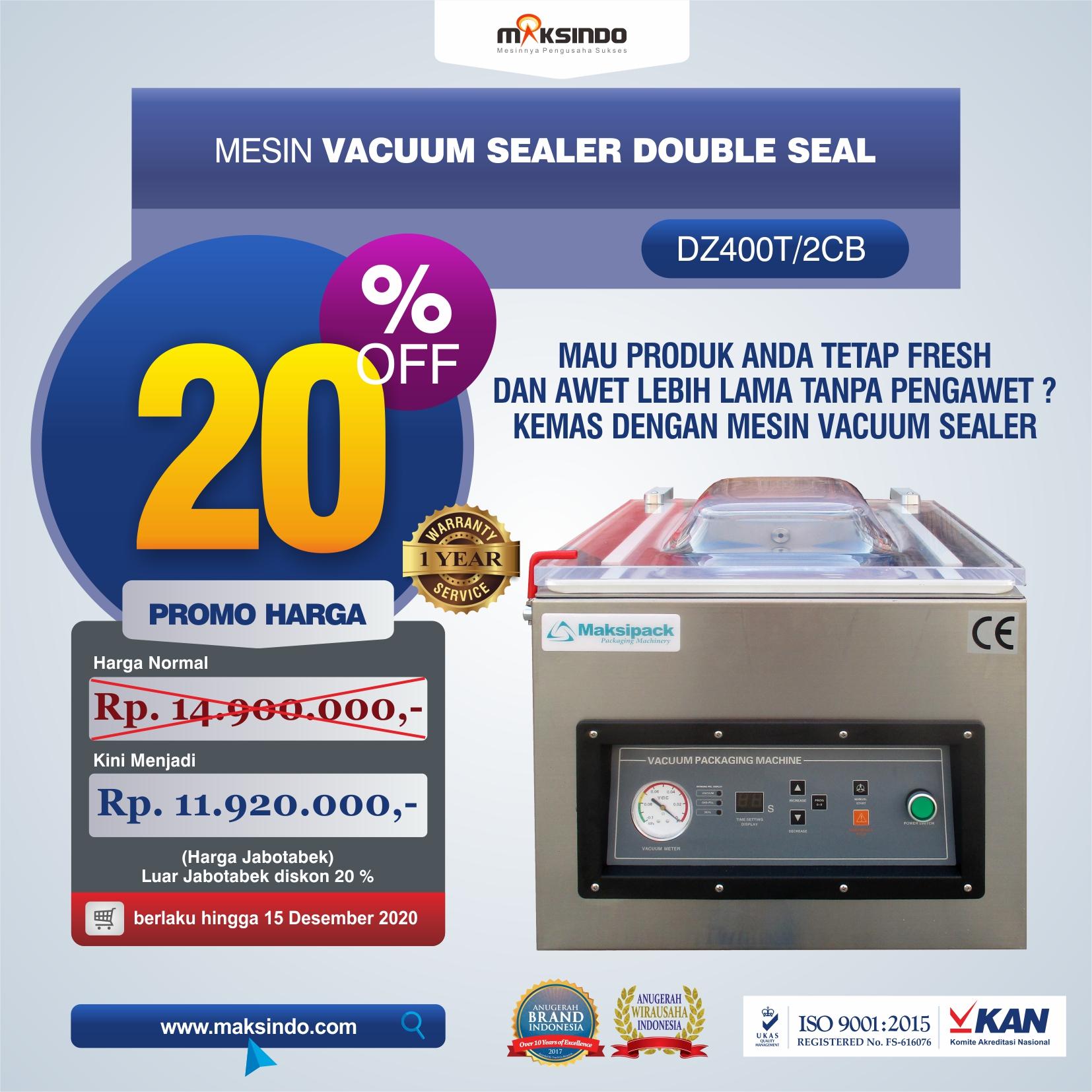 Jual Vacuum Sealer Double Seal DZ400T/2CB di Medan