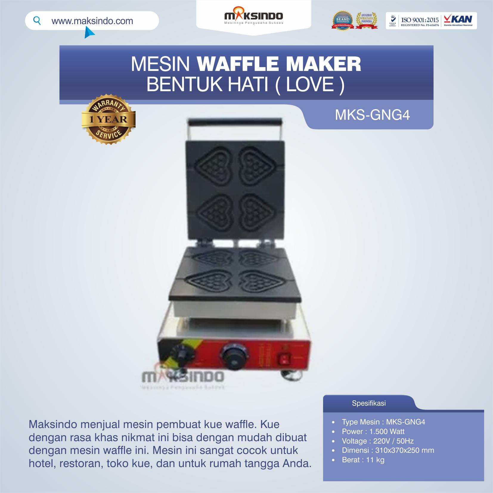 Jual Mesin Waffle Maker Bentuk Hati (Love) MKS-GNG4 di Medan