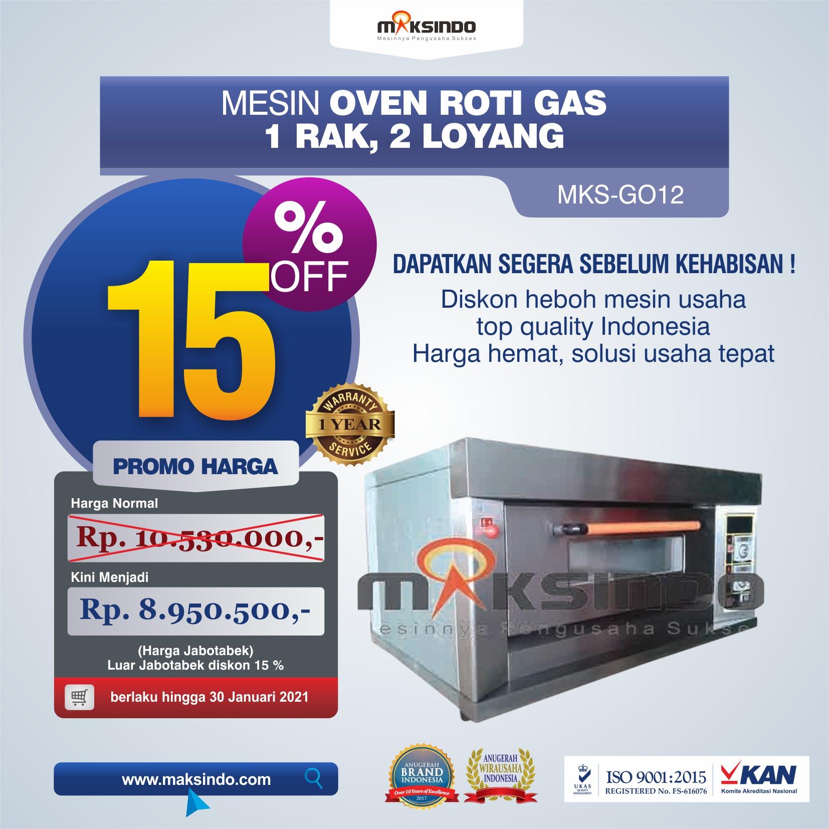 Jual Mesin Oven Gas 2 Loyang (MKS-GO12) di Medan