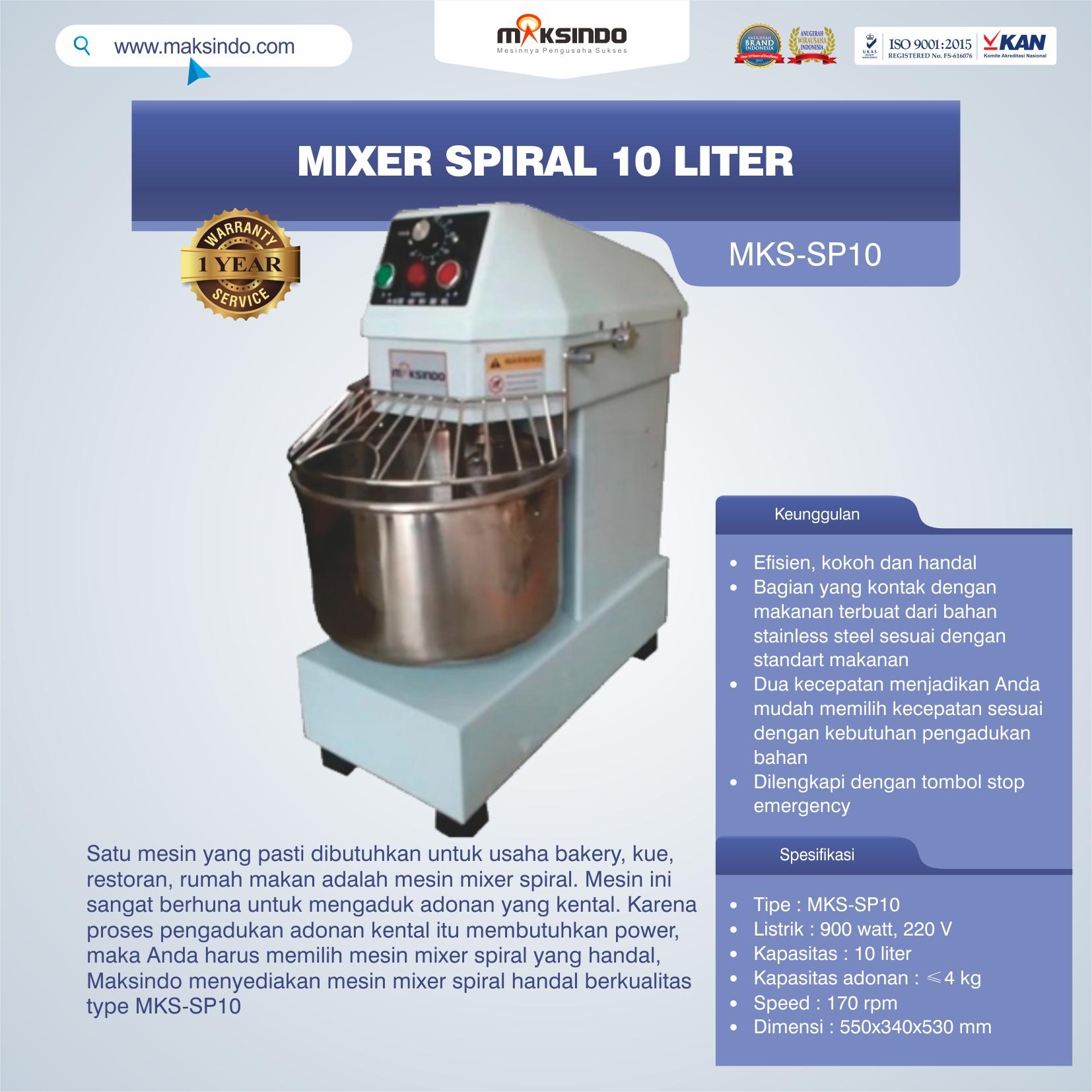 Jual Mixer Spiral 10 Liter (MKS-SP10) di Medan