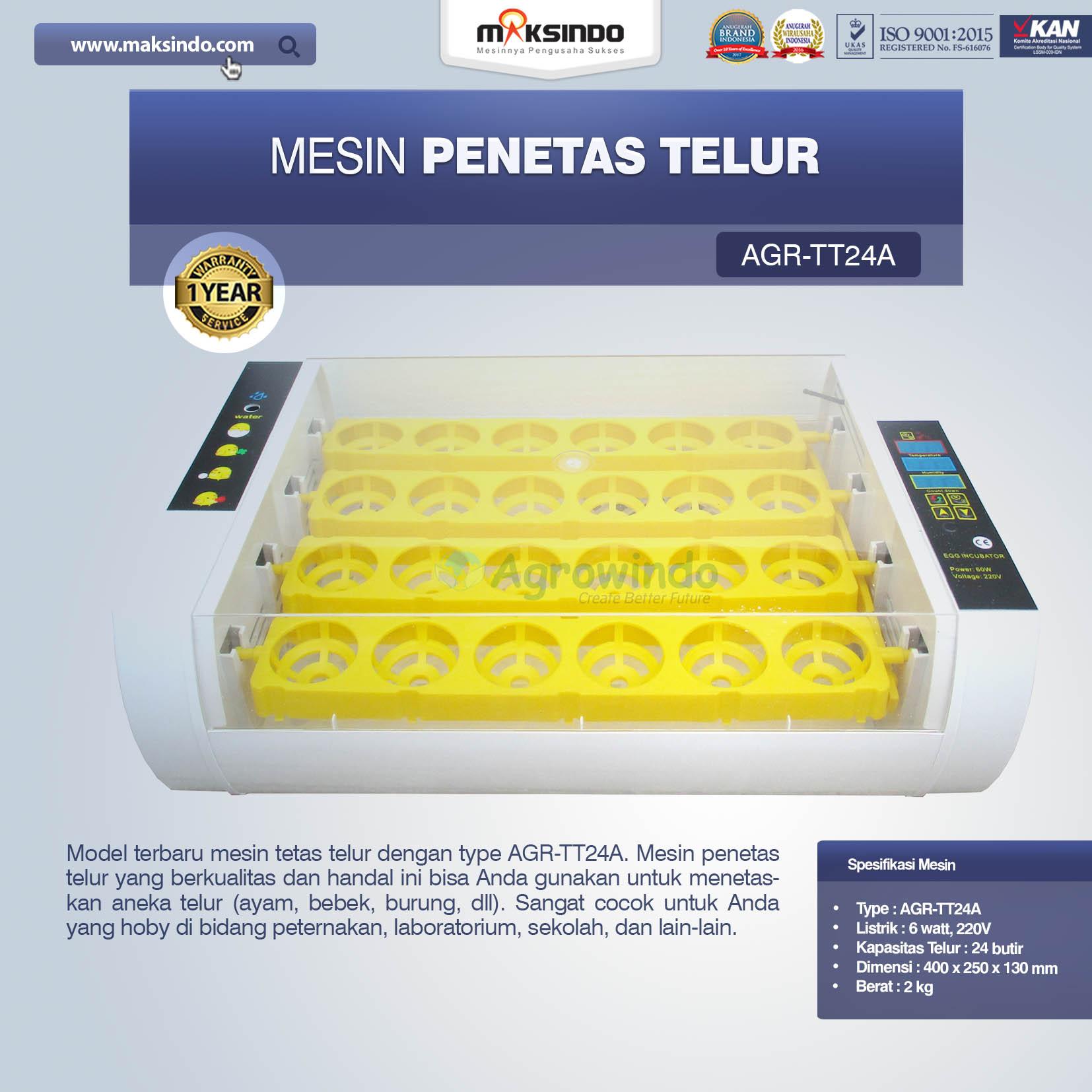 Jual Mesin Penetas Telur AGR-TT24A di Medan
