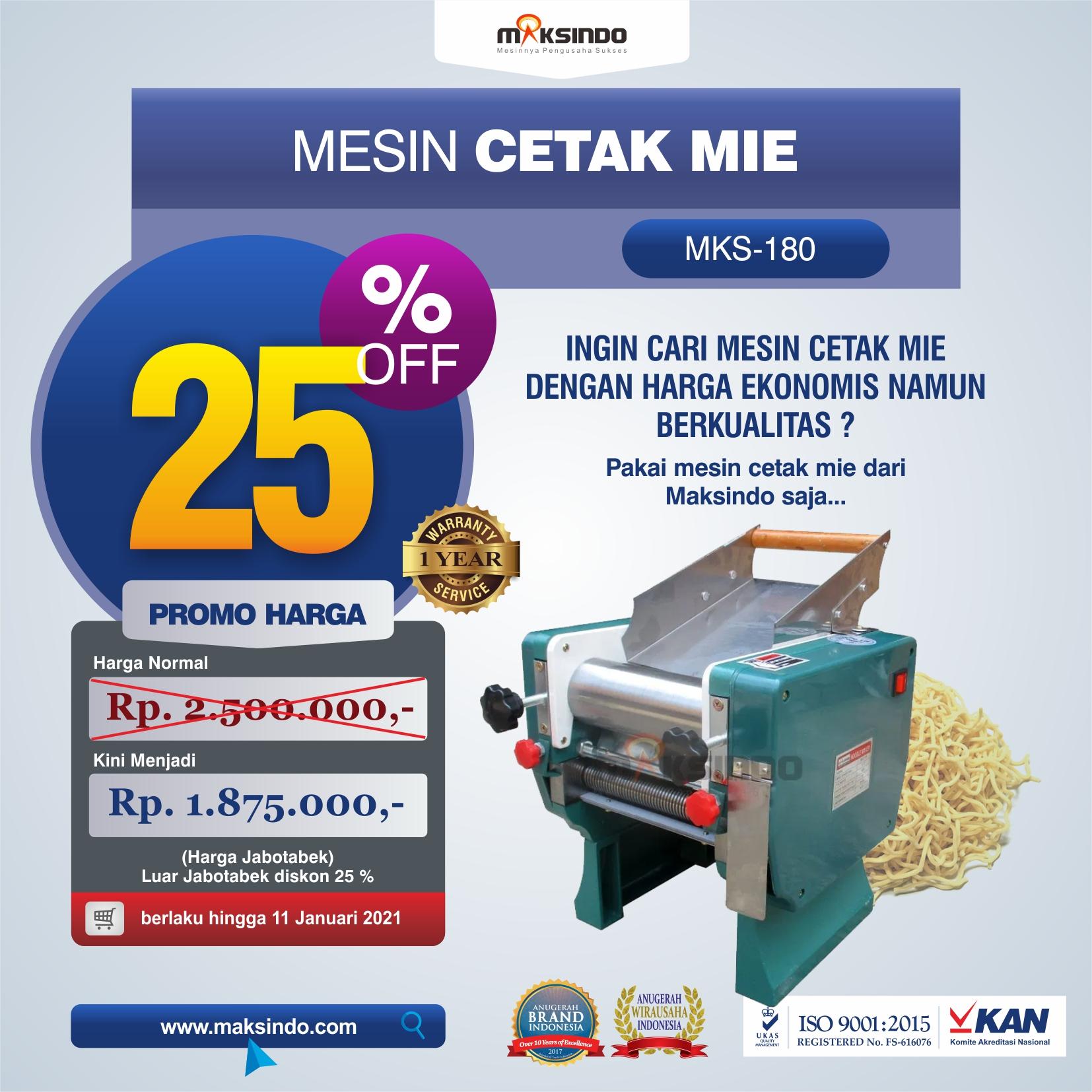 Jual Mesin Cetak Mie (MKS-180) di Medan