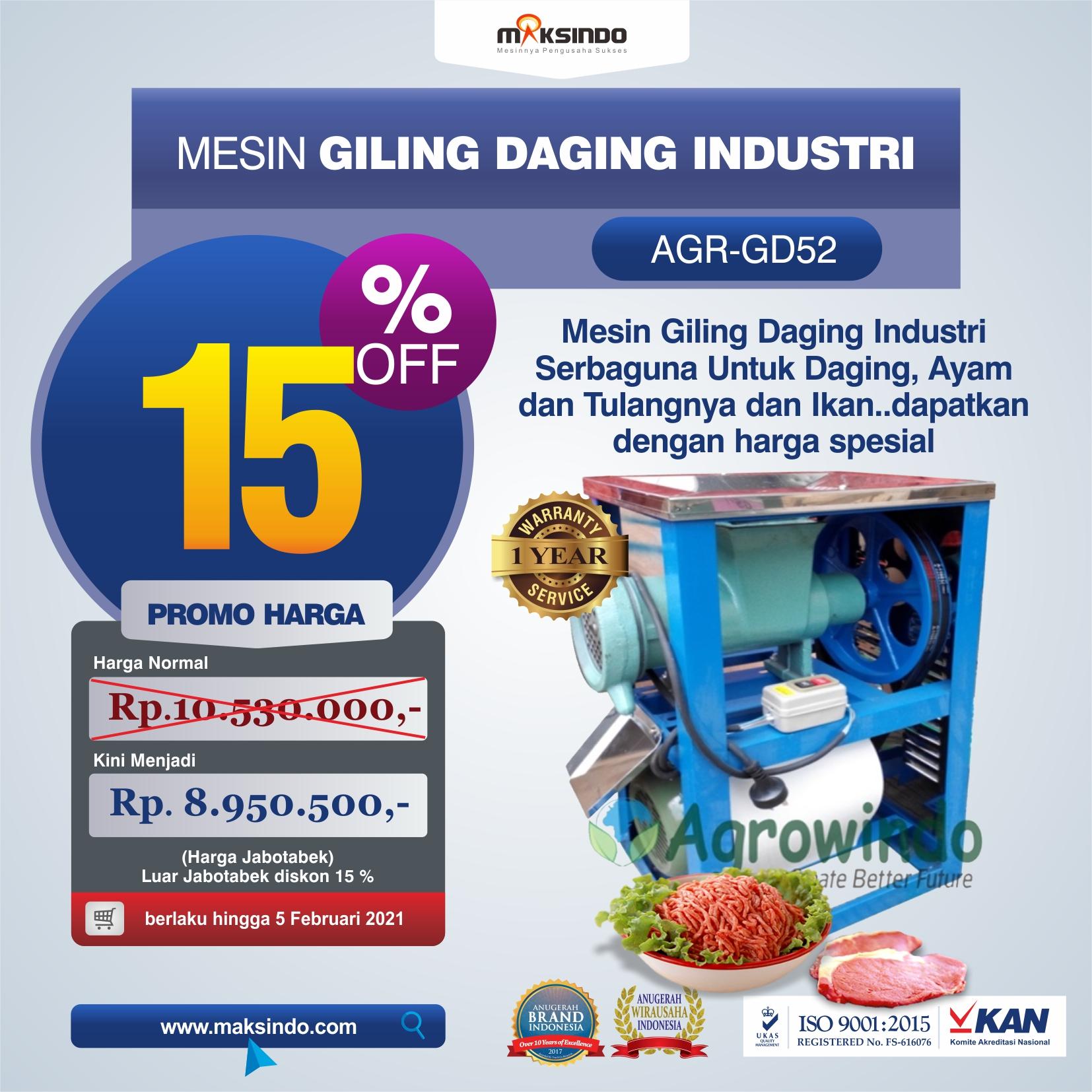 Jual Mesin Giling Daging Industri (AGR-GD52) di Medan