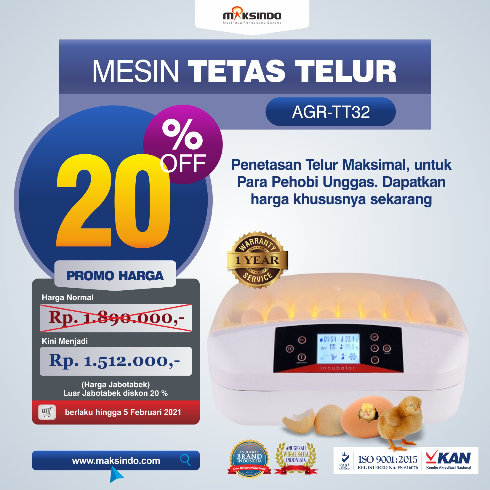 Jual Mesin Penetas Telur 32 Butir (AGR-TT32) di Medan