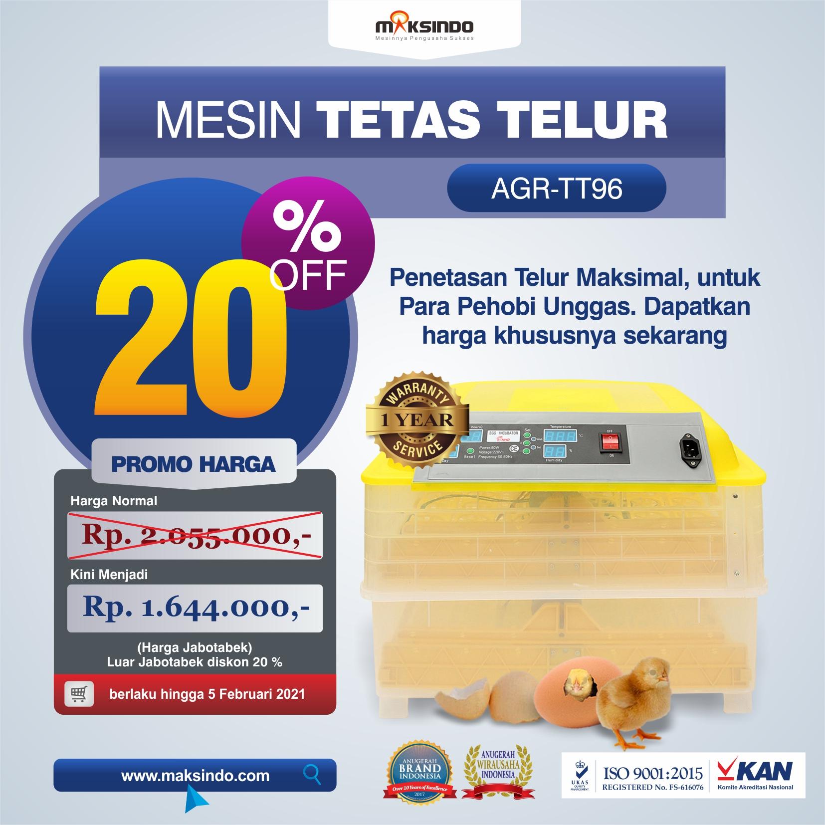 Jual Mesin Penetas Telur 96 Butir Otomatis – AGR-TT96 di Medan