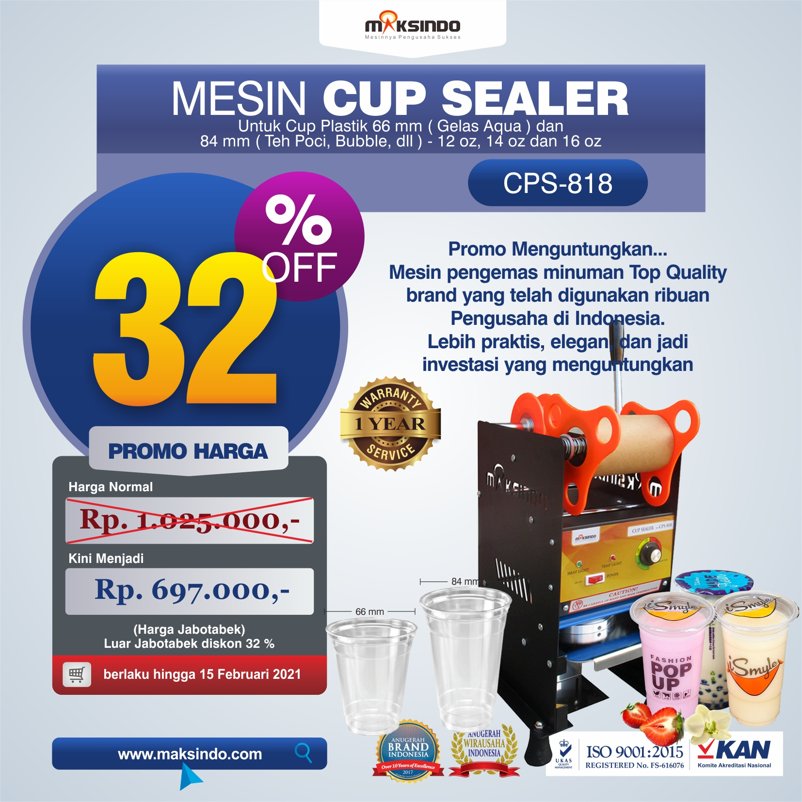 Jual Mesin Cup Sealer Manual (CPS-818) di Medan