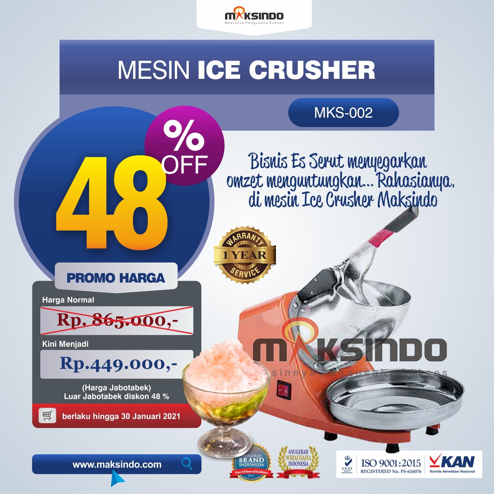 Jual Mesin Es Serut (Ice Crusher- MKS002) di Medan