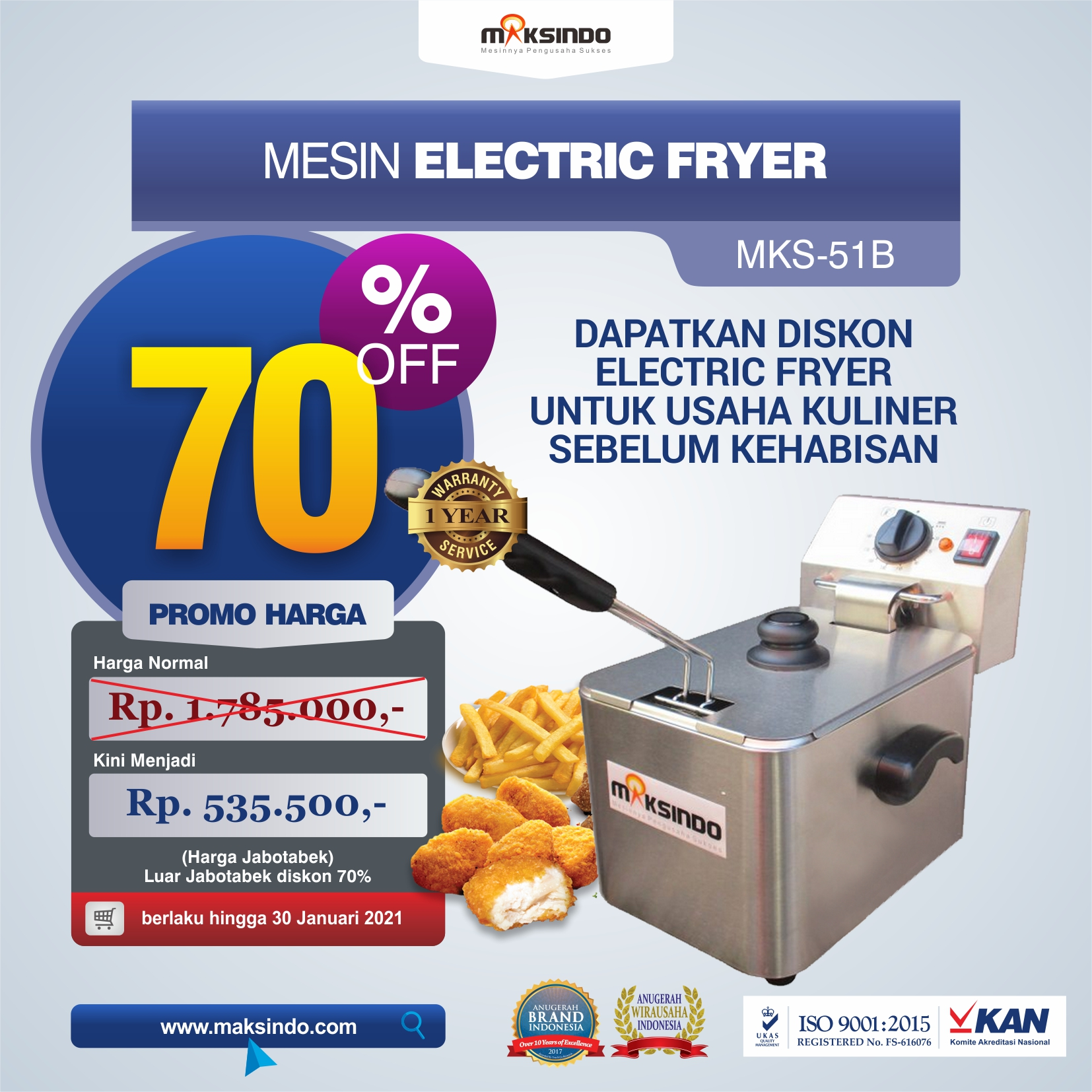 Jual Mesin Electric Fryer MKS-51B di Medan
