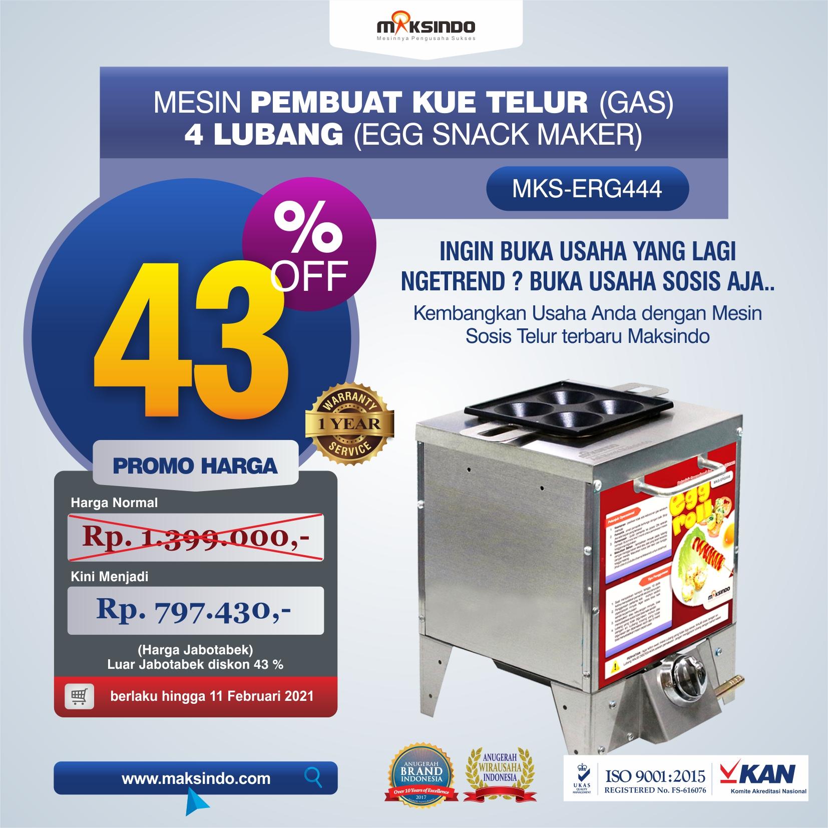 Mesin Pembuat Egg Roll (Gas) 4 Lubang MKS-ERG444 di Medan