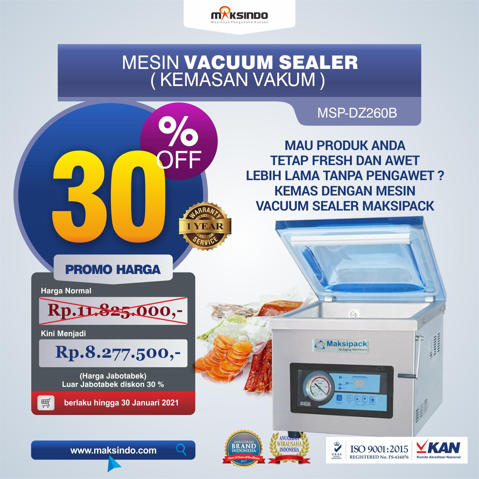 Jual Mesin Vacuum Sealer Singgle Seal MSP-DZ260B di Medan