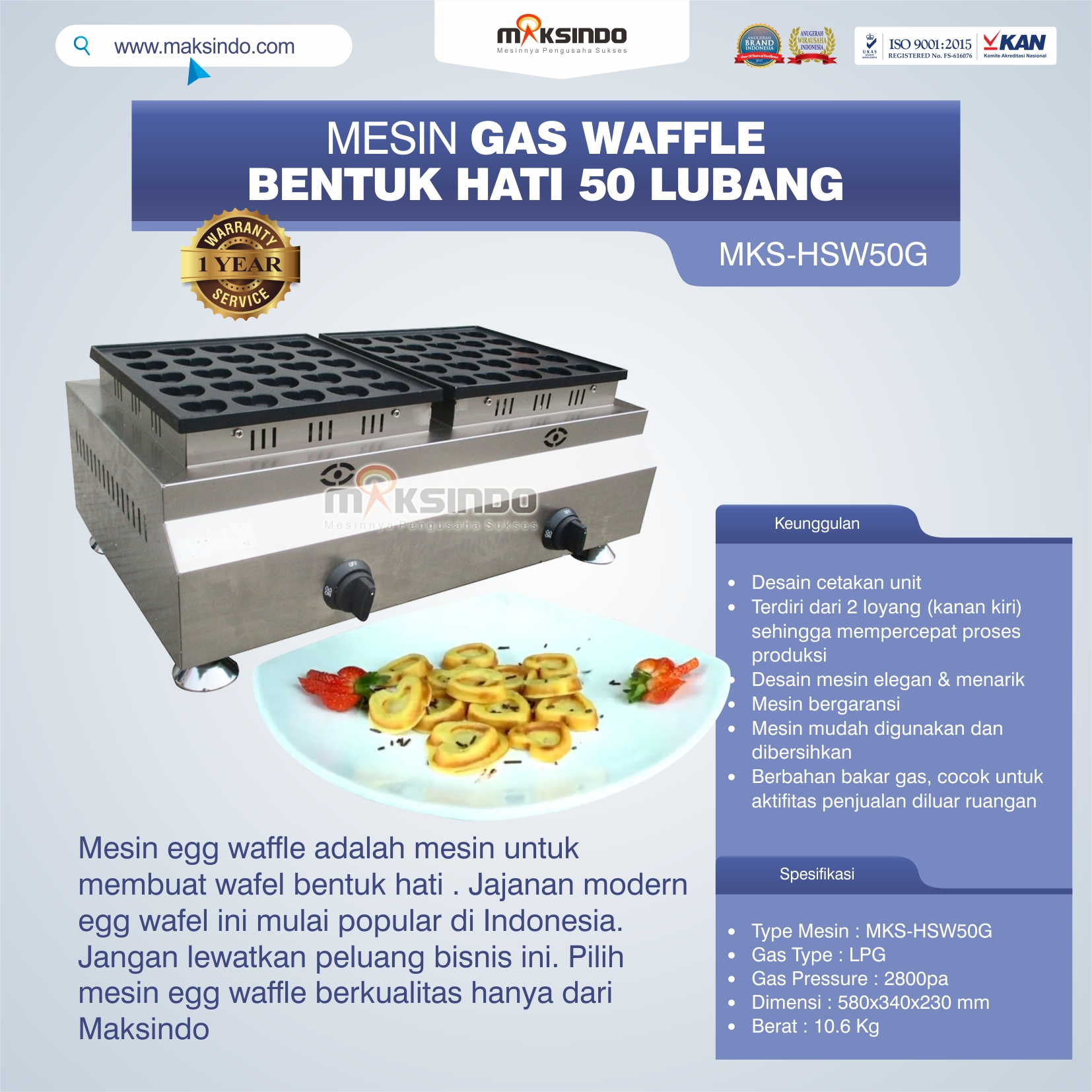 Jual Mesin Waffle Gas Bentuk Hati 50 Lubang MKS-HSW50G di Medan