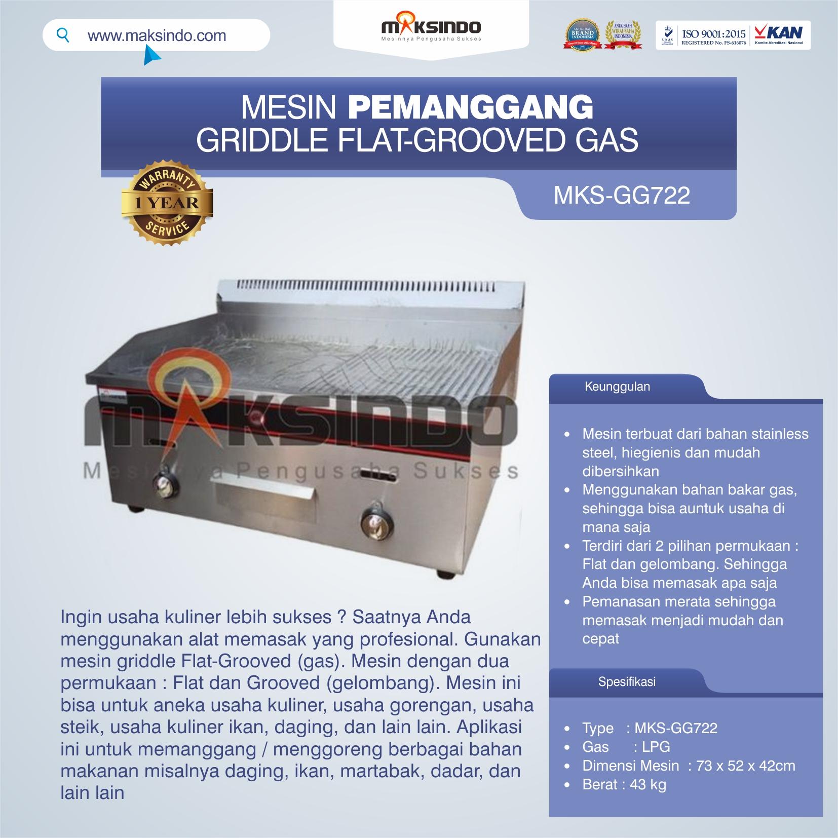 Jual Pemanggang Griddle Flat-Grooved Gas (GG722) di Medan
