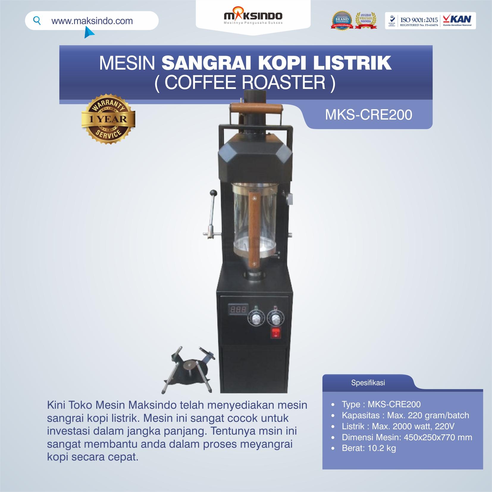 Jual Mesin Sangrai Kopi Listrik (Coffee Roaster) MKS-CRE200 di Medan